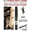 Kit punte anti ladro in acciaio 6 pezzi da 40 cm + rivetti + adesivo segnaletico