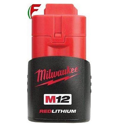 BATTERIA RICAMBIO UTENSILI MILWAUKEE M12 LITIO 12 VOLT 1,5 AH REDLITHIUM-ION